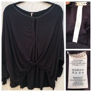 Free People Draped Blouse Black